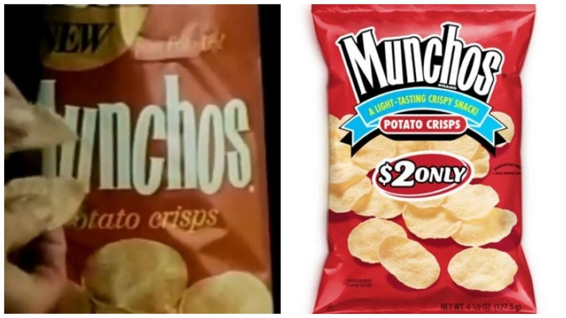 Munchos, 1972 Vs. 2019 on Random Potato Chip Bags Have Changed Over Tim