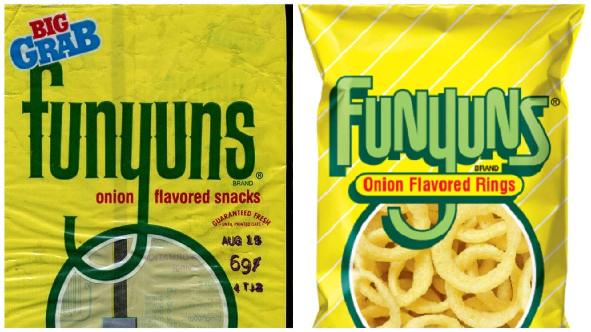 Funyuns, C. 1980s Vs. 2019 on Random Potato Chip Bags Have Changed Over Tim