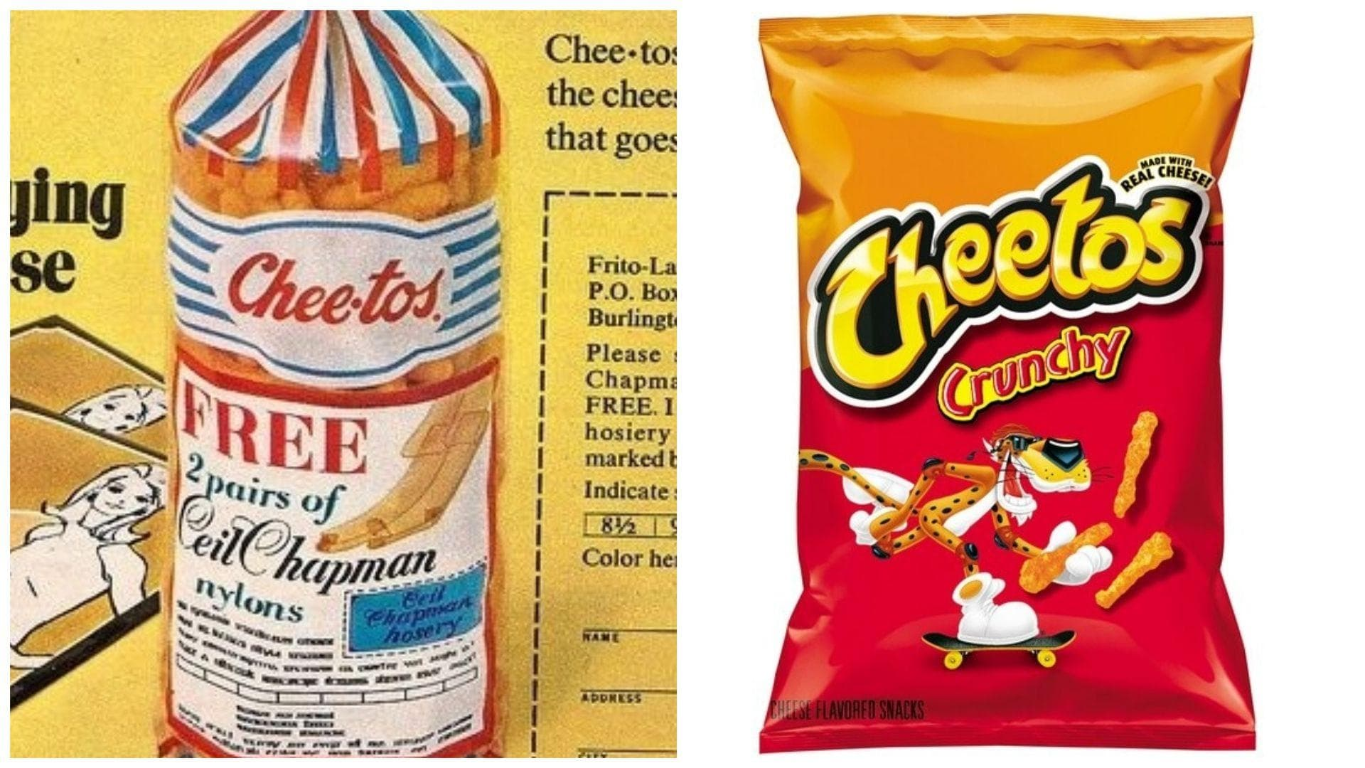 Cheetos, 1968 Vs. 2019 on Random Potato Chip Bags Have Changed Over Tim