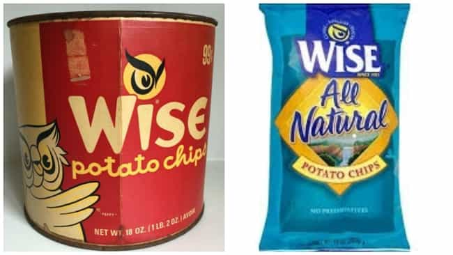 Wise Potato Chips, C. 1960s Vs... is listed (or ranked) 3 on the list How Potato Chip Bags Have Changed Over Time