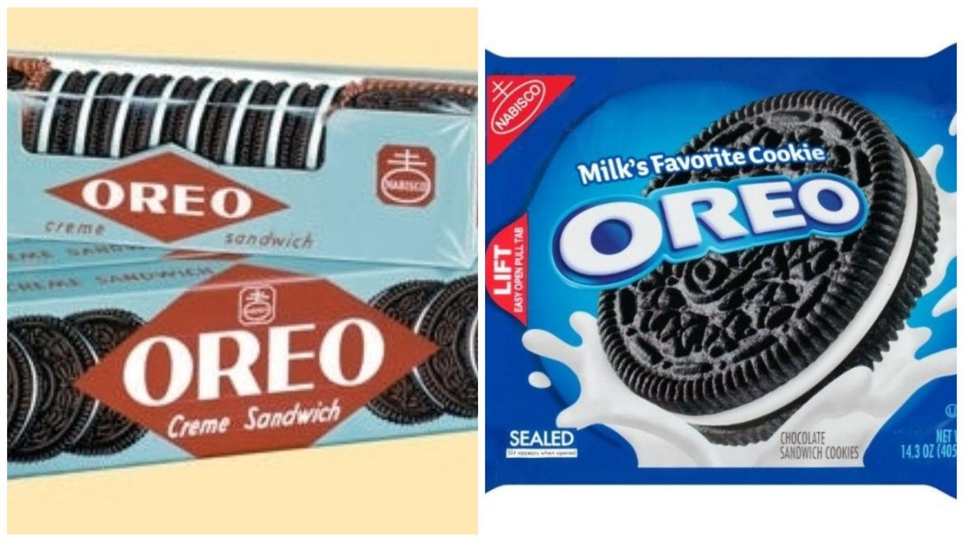 Oreos, 1951 Vs. 2019 on Random Changed Over Time of Cookie Boxes