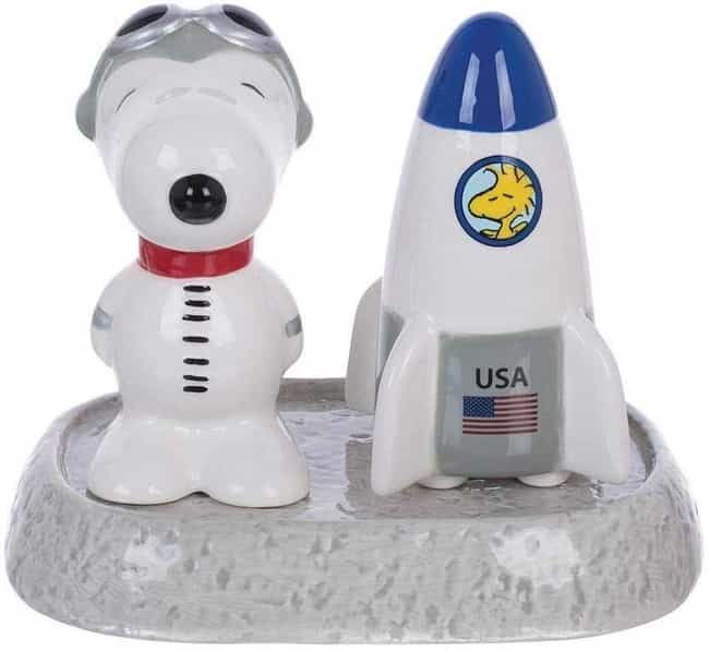 Astronaut Snoopy Salt Shaker is listed (or ranked) 1 on the list 25 Stellar Gifts For Space And Astronomy Nerds