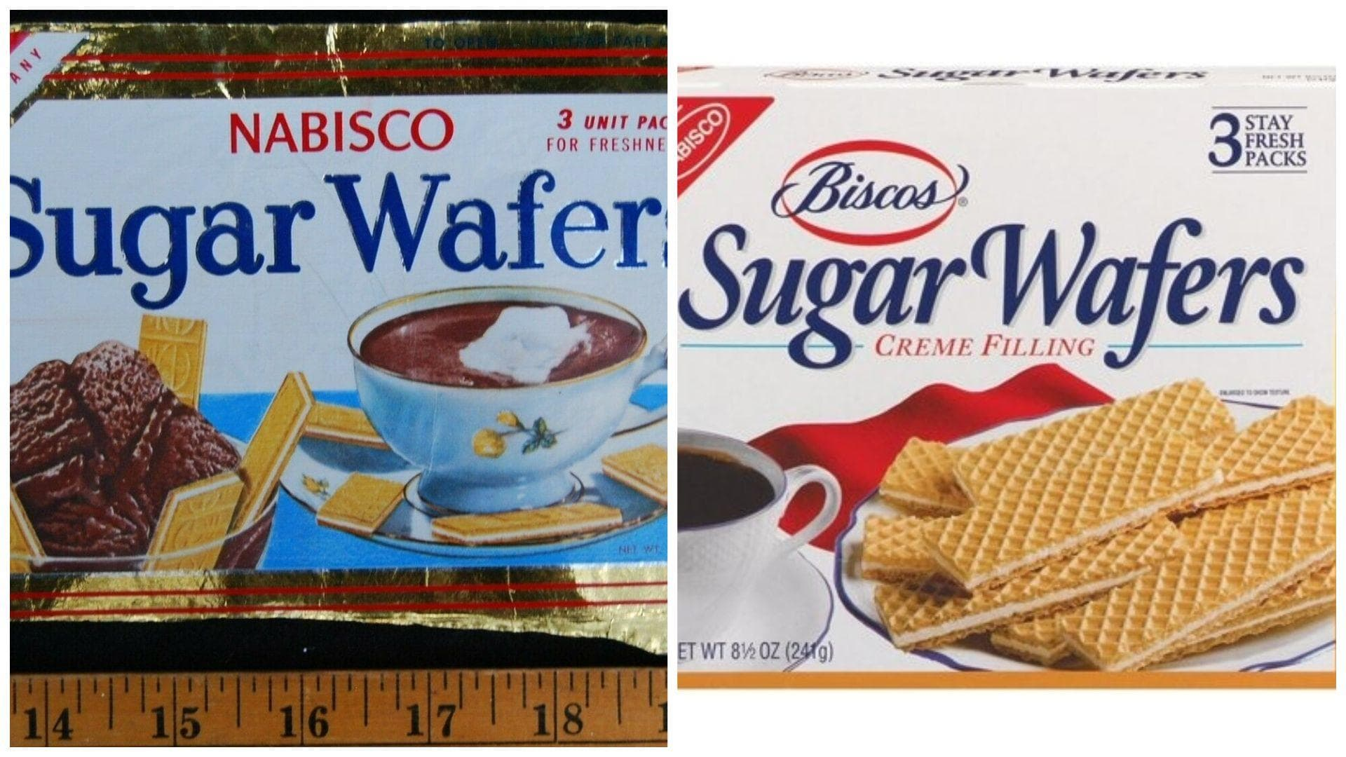 Biscos Sugar Wafers, C. 1960s Vs. 2019 on Random Changed Over Time of Cookie Boxes