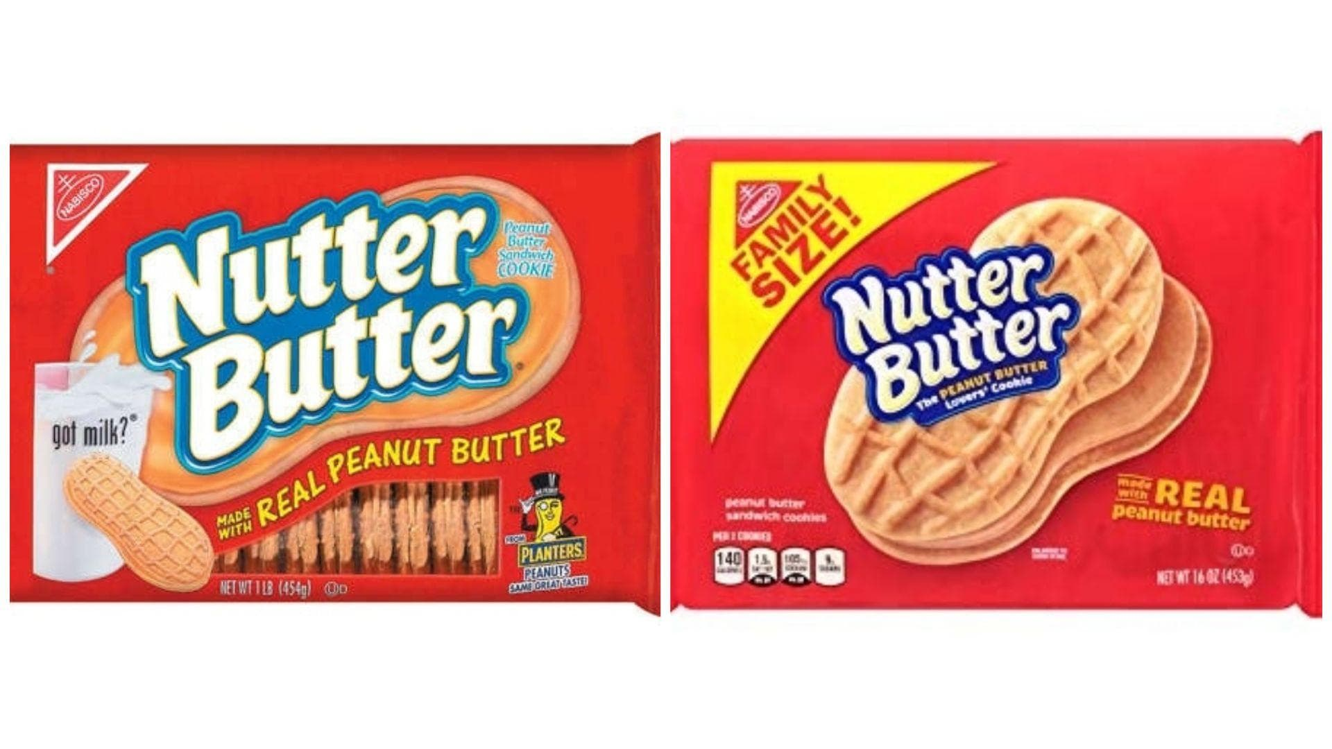 Nutter Butter, C. 1990s Vs. 2019 on Random Changed Over Time of Cookie Boxes