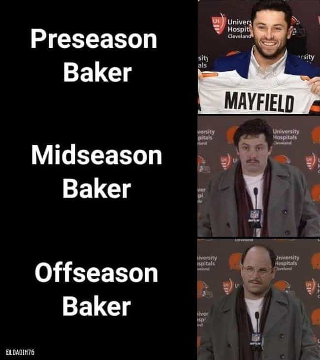 3 Faces Of Baker is listed (or ranked) 4 on the list The Best NFL Memes For The 2019 Season