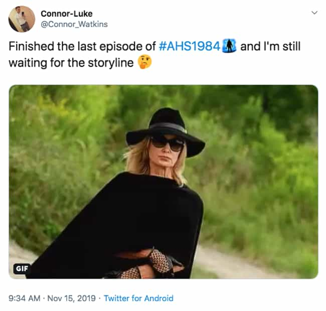 Time's A-Ticking is listed (or ranked) 3 on the list The 20 Best Twitter Reactions To Episode 9 Of 'American Horror Story: 1984'