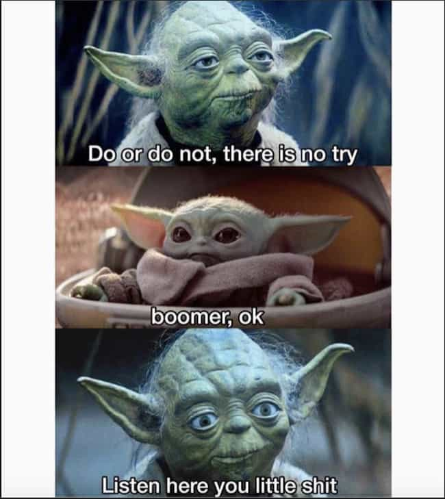Boomer, Ok is listed (or ranked) 1 on the list The Most Hilarious Reactions To Baby Yoda's Overwhelming Cuteness