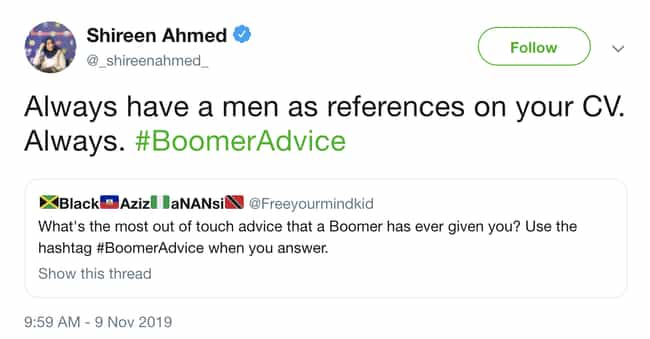 Shaking Our Heads At This One is listed (or ranked) 2 on the list Boomer Advice That Has Aged Horribly