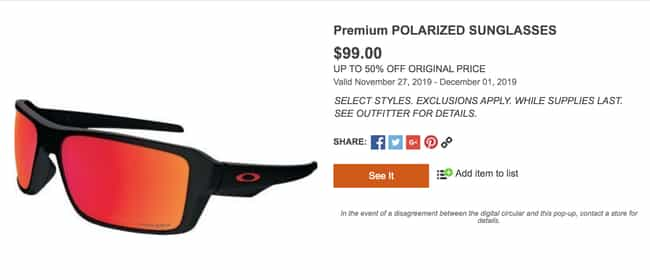 Sunglass Outfitters Premium Po... is listed (or ranked) 3 on the list The Best 2019 Black Friday Deals From Cabela's