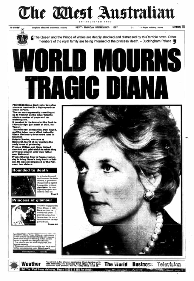 Australia: 'The West Australia... is listed (or ranked) 4 on the list Here's What Newspapers Around The World Looked Like After Princess Diana's Passing