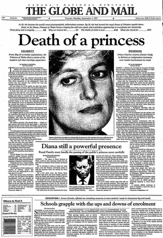 Canada: 'The Globe And Mail' is listed (or ranked) 2 on the list Here's What Newspapers Around The World Looked Like After Princess Diana's Passing
