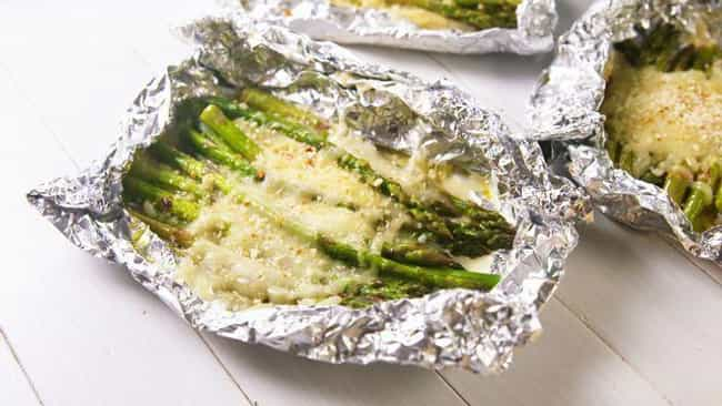 Cheesy Asparagus Foil Packs is listed (or ranked) 4 on the list Delicious Foil Packet Dinner Recipes For Everyday Campers