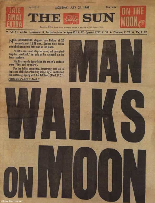 Australia: The Sun (Sydney) is listed (or ranked) 1 on the list Here's What Newspapers Around The World Looked Like The Day After The Moon Landing