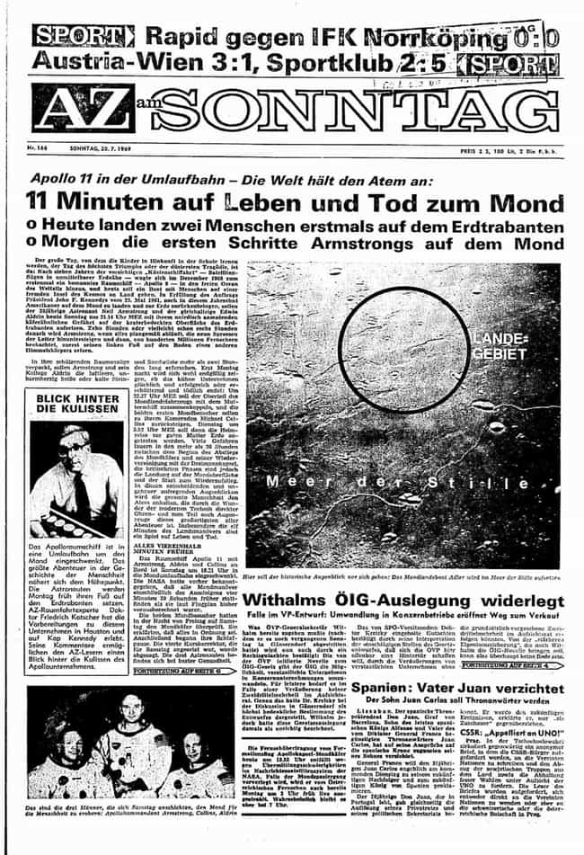 Austria: Arbeiter-Zeitung is listed (or ranked) 2 on the list Here's What Newspapers Around The World Looked Like The Day After The Moon Landing