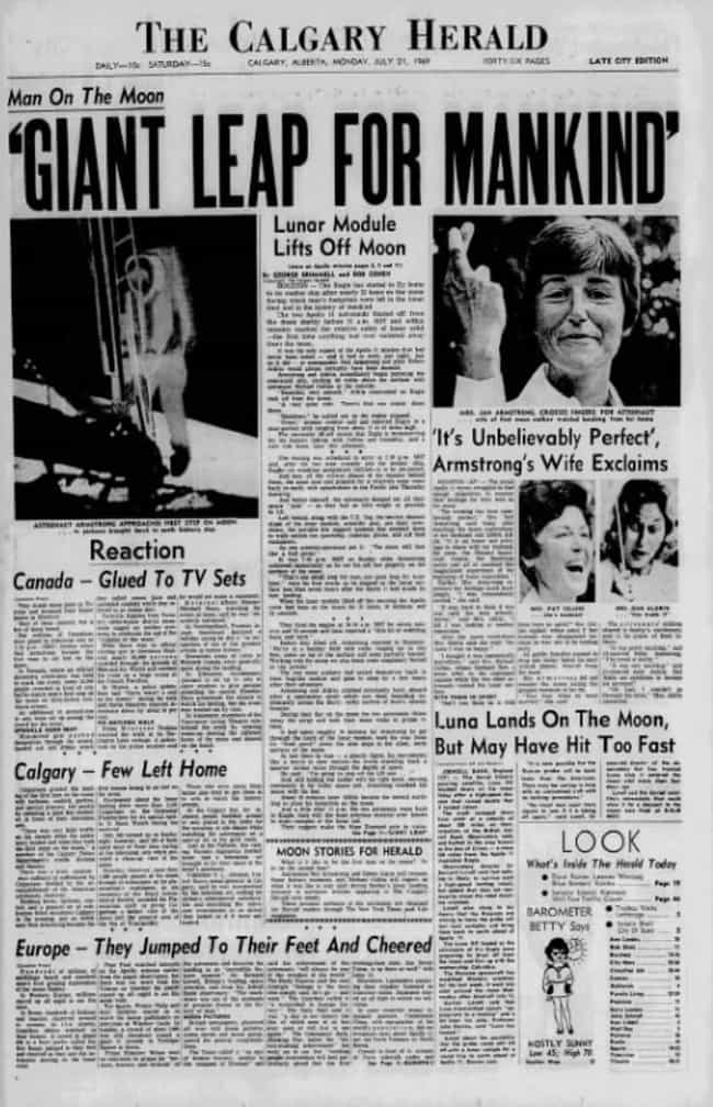 Canada: Calgary Herald is listed (or ranked) 3 on the list Here's What Newspapers Around The World Looked Like The Day After The Moon Landing