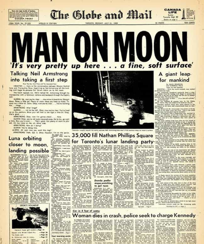 Canada: The Globe And Mail is listed (or ranked) 4 on the list Here's What Newspapers Around The World Looked Like The Day After The Moon Landing