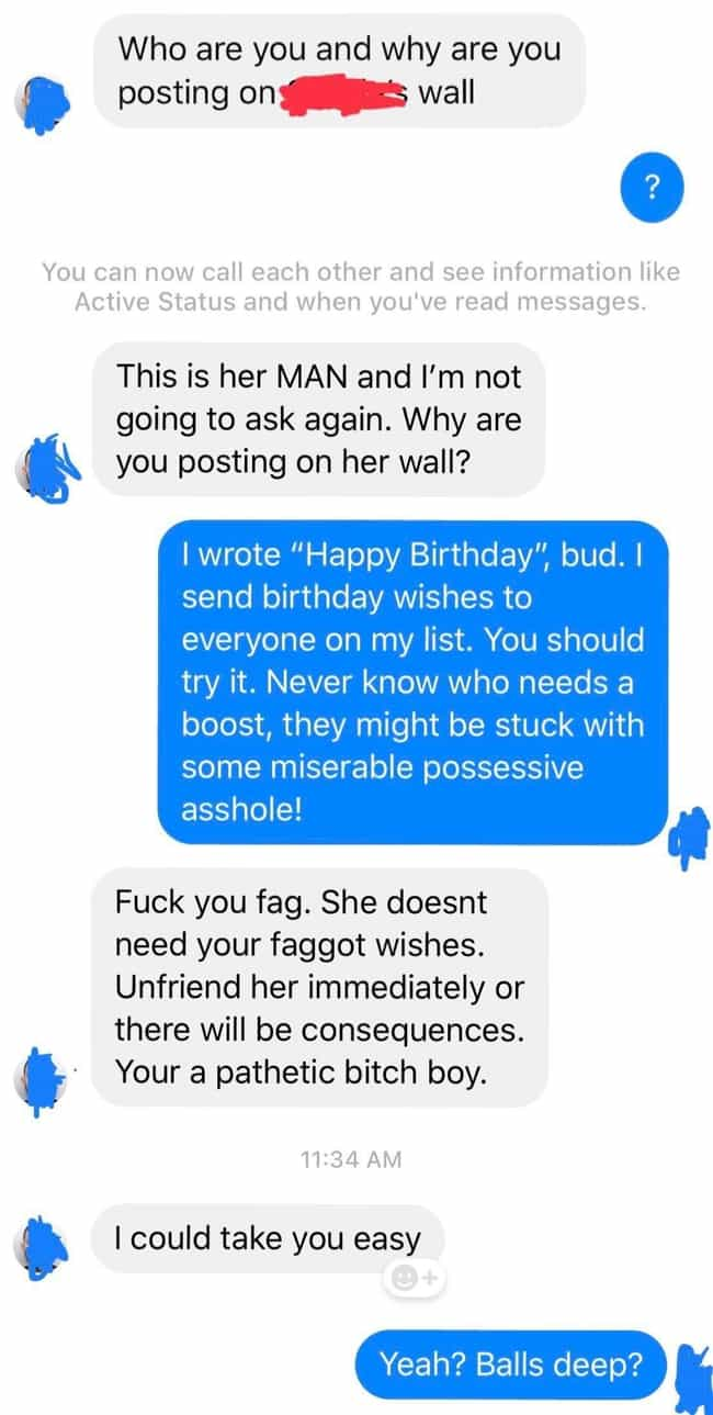 Don't Post Happy Birthday On H... is listed (or ranked) 1 on the list 23 Really Tough Guys That Definitely Don't Have Fragile Egos