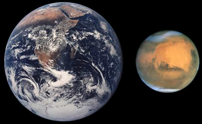 Earth Vs. Mars is listed (or ranked) 3 on the list How Does The Earth Measure Up To The Rest Of The Galaxy?