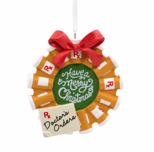 Pill Bottle Wreath is listed (or ranked) 1 on the list Very Specific Hallmark Christmas Ornaments We Can't Believe Actually Exist