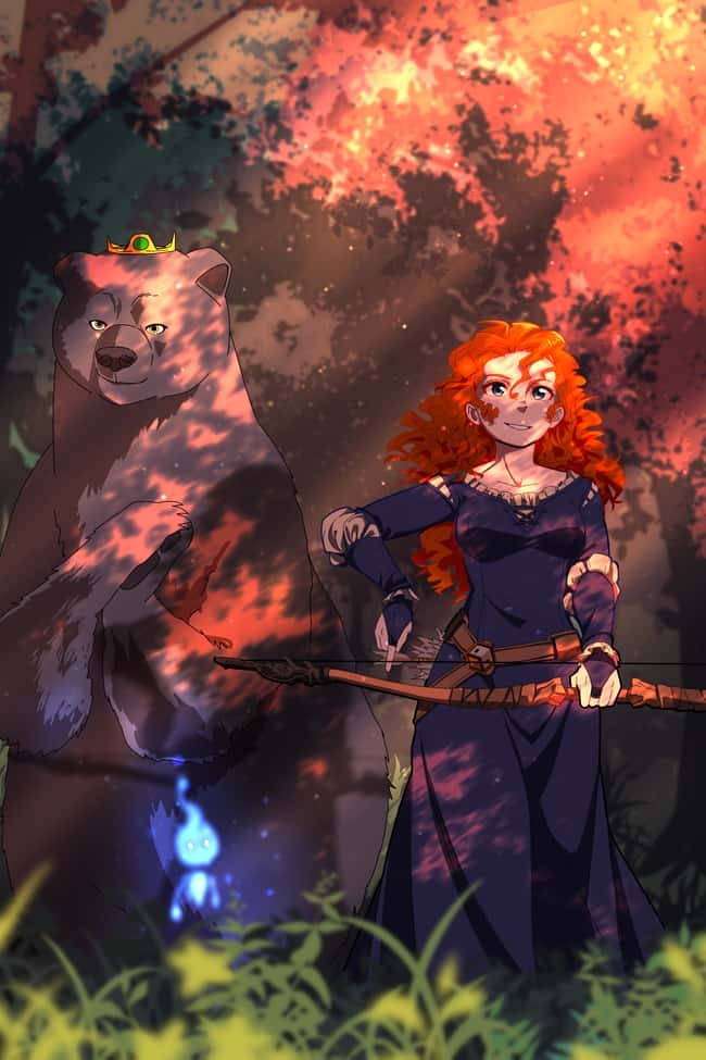 Brave is listed (or ranked) 6 on the list This Artist Creates Anime Versions of Disney Characters