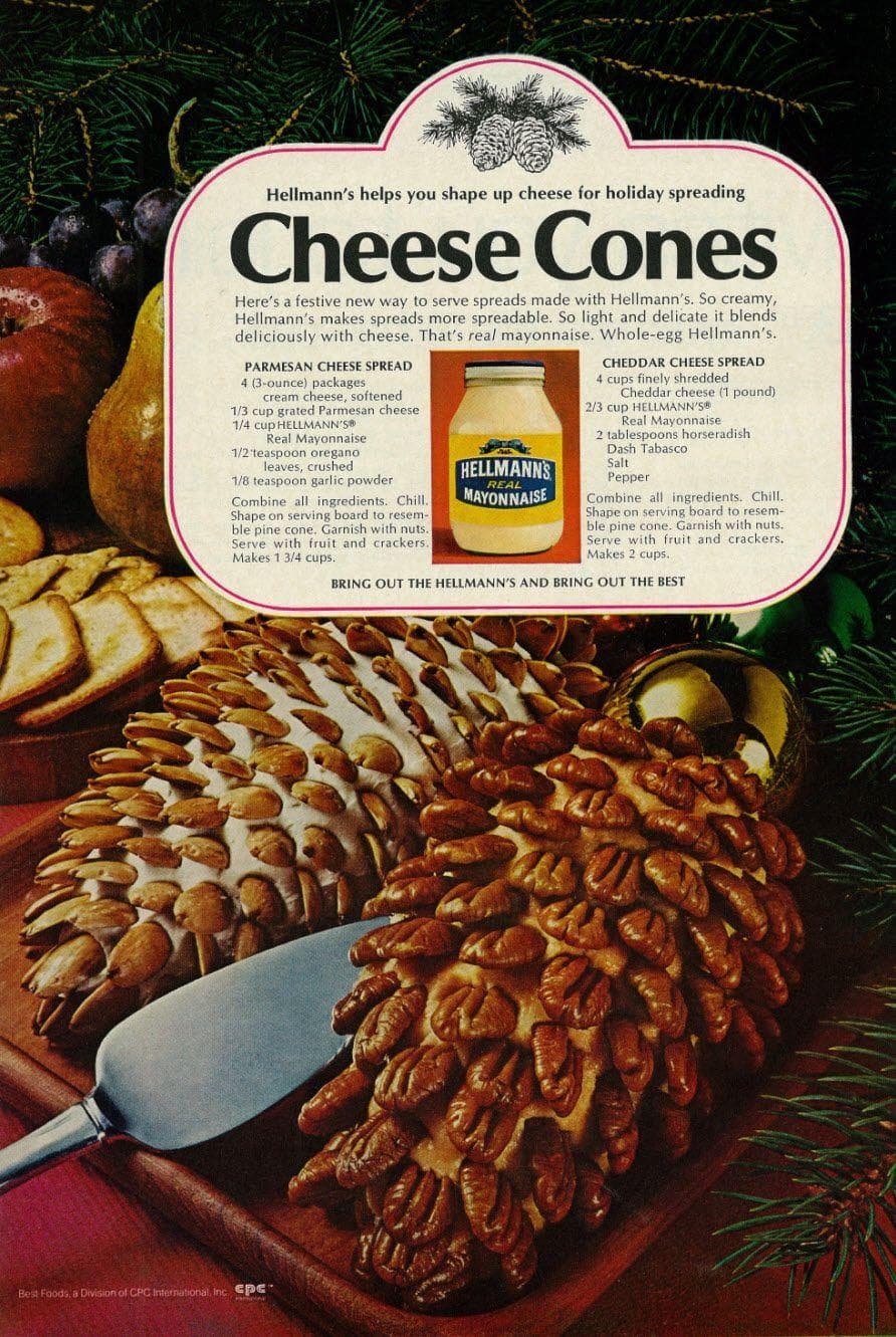 Cheese Cones on Random Weird Vintage Foods You'd Love At Your Holiday Party