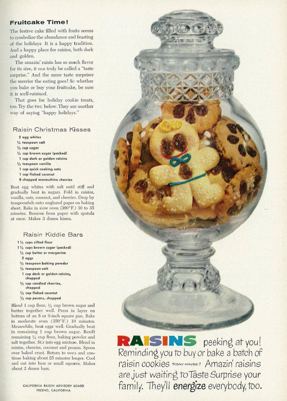 Raisin Kiddie Bars on Random Weird Vintage Foods You'd Love At Your Holiday Party