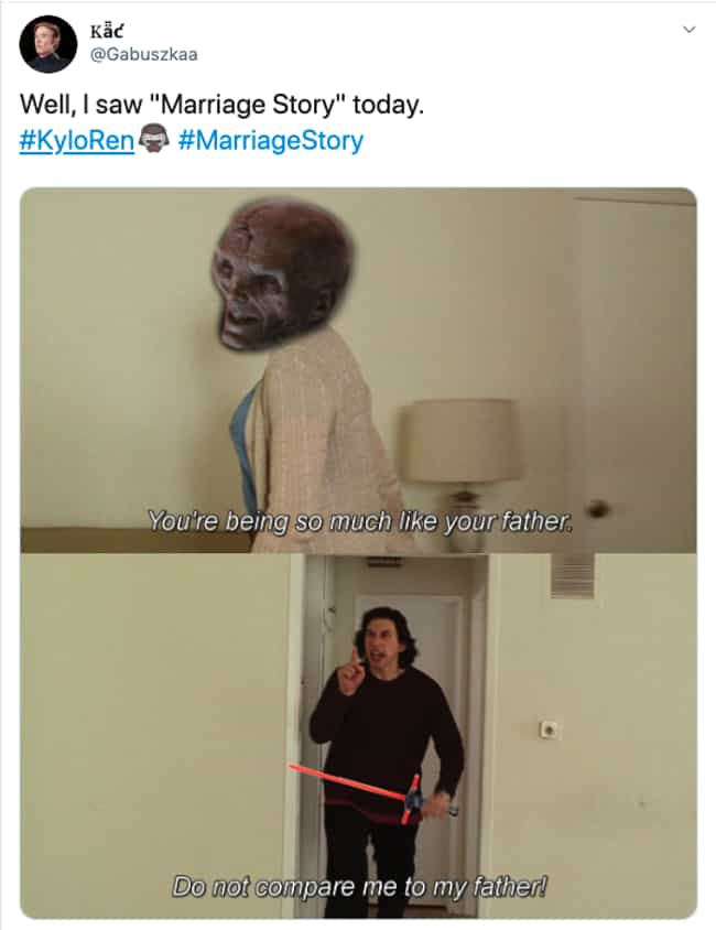 Snoke With The Low Blow ... is listed (or ranked) 3 on the list The 17 Best New Marriage Story Memes We Could Find