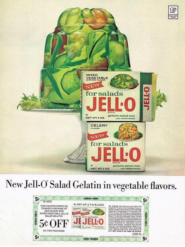Jell-O Vegetable Salad on Random Weird Vintage Foods You'd Love At Your Holiday Party