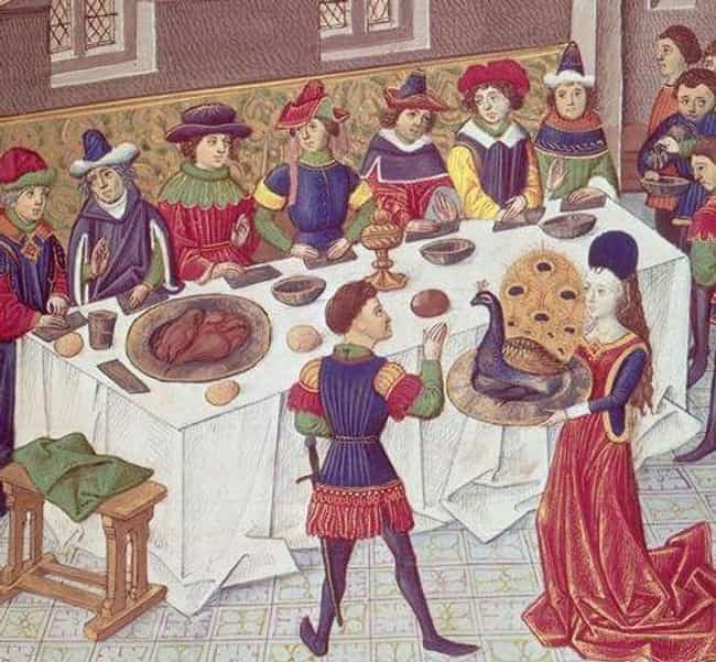 Peacock is listed (or ranked) 2 on the list What People In The Medieval Era Ate During Christmas Feasts