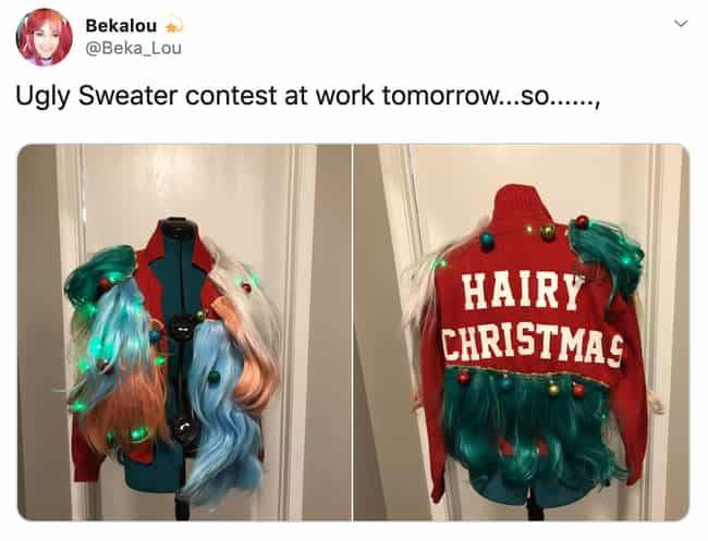 A Very Hairy Christmas T... is listed (or ranked) 1 on the list 27 Ugly Christmas Sweaters That Make The Holiday Hideous