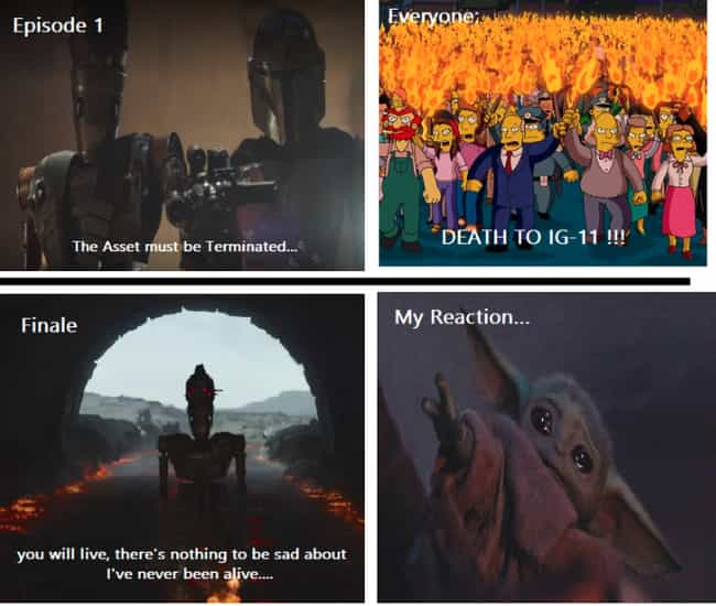 IG-11 Had Quite The Arc ... is listed (or ranked) 4 on the list 27 Of The Funniest Reactions To 'The Mandalorian' Season Finale