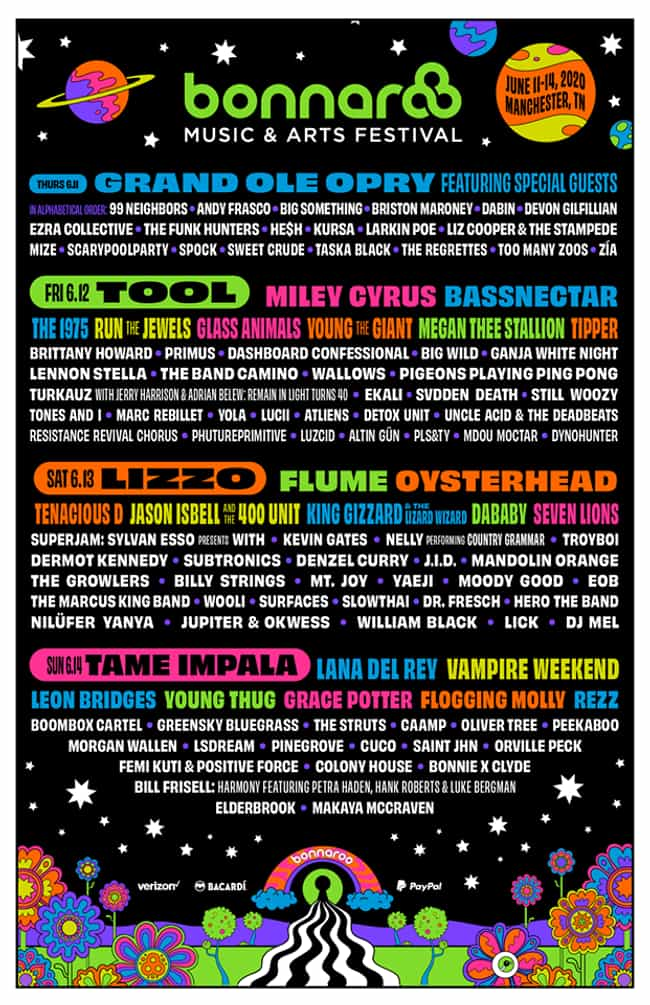 Bonnaroo is listed (or ranked) 3 on the list The Best Music Festival Lineups of 2020