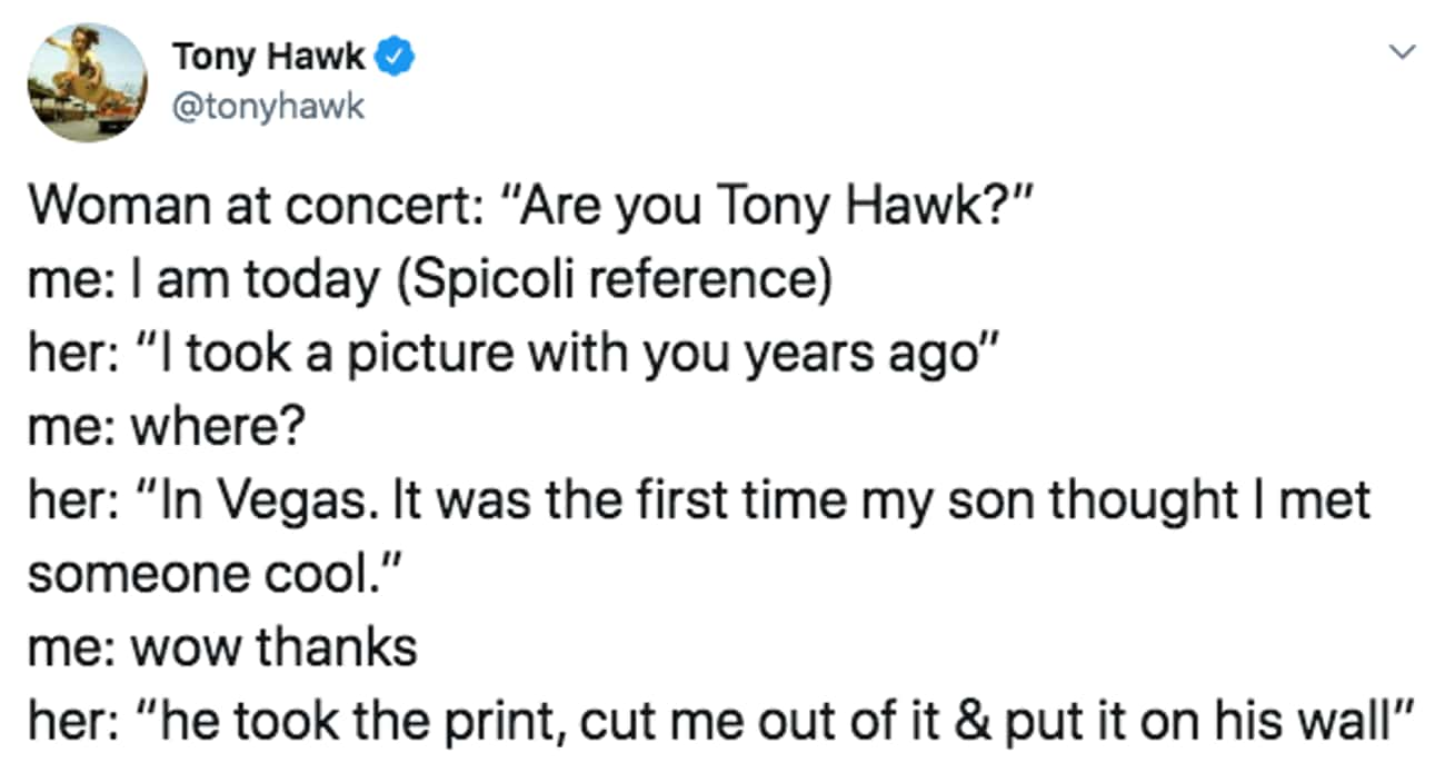 At Least The Son Was Impressed is listed (or ranked) 4 on the list 29 Tweets That Prove Tony Hawk Is One Of The Funniest People To Follow