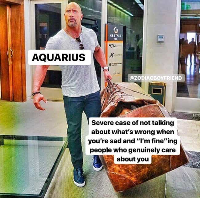 I'm Fine is listed (or ranked) 2 on the list The Funniest Memes That Describe What It's Like To Be An Aquarius in 2020