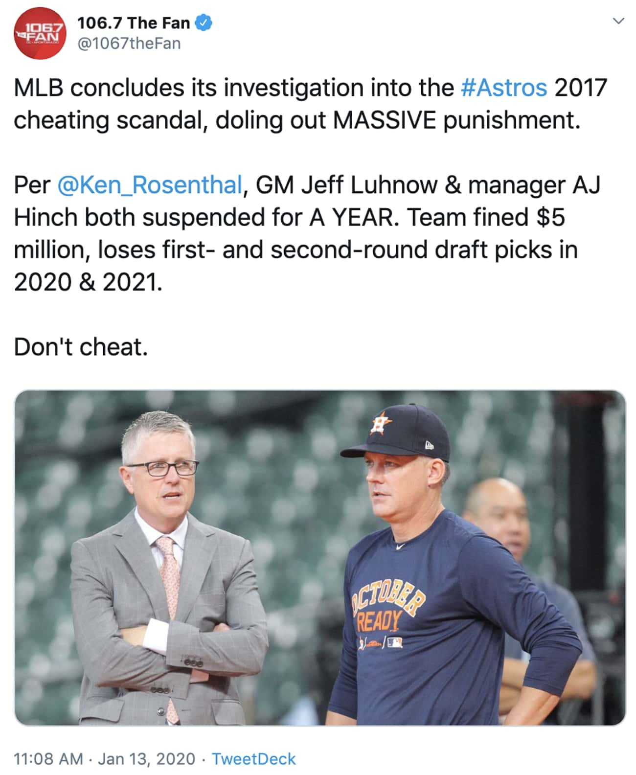 The News Dropped is listed (or ranked) 1 on the list Here Are Some Reactions To The Houston Astros Cheating Scandal