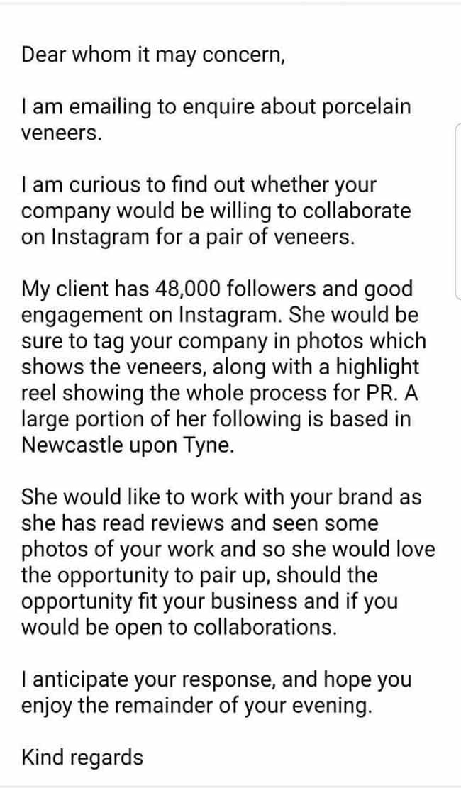 A Biting Request is listed (or ranked) 4 on the list 20 Times Wannabe Influencers Tried To Get Free Stuff And Failed Miserably