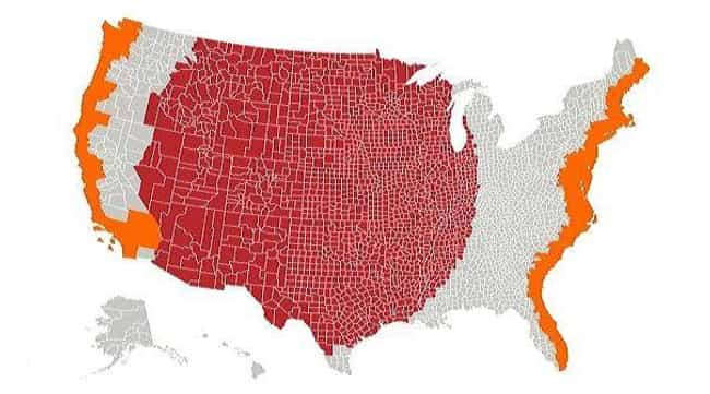 The Red And Orange Secti... is listed (or ranked) 2 on the list 17 Maps Of The United States That Made Us Say