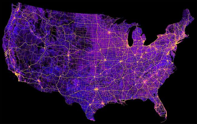"""8 Million Miles Of Highways An is listed (or ranked) 12 on the list 17 Maps Of The United States That Made Us Say """"Whoa"""""""