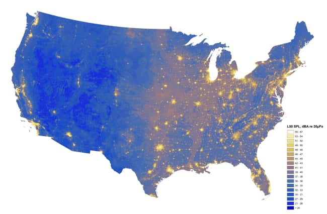 """The Loudest And Quietest Spots is listed (or ranked) 7 on the list 17 Maps Of The United States That Made Us Say """"Whoa"""""""