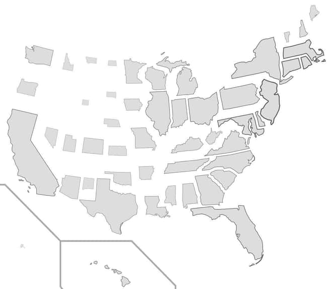"""States Resized According To Po is listed (or ranked) 9 on the list 17 Maps Of The United States That Made Us Say """"Whoa"""""""