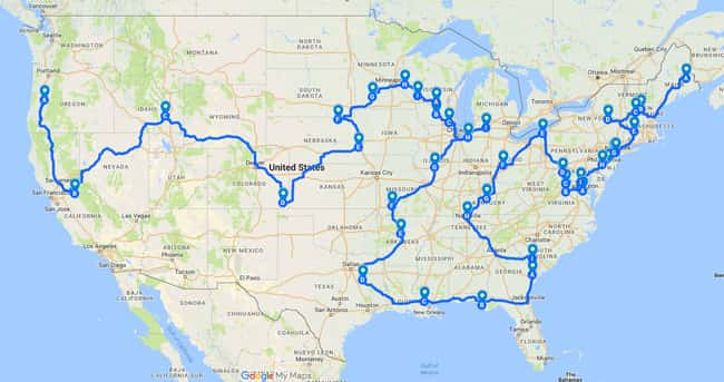 """The Most Efficient Road Trip T is listed (or ranked) 13 on the list 17 Maps Of The United States That Made Us Say """"Whoa"""""""