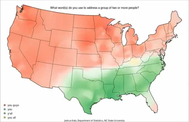 """Y'all"" vs. &q... is listed (or ranked) 3 on the list 18 Weirdly Accurate U.S. Maps That Show The Most Random Ways The Country Is Divided"