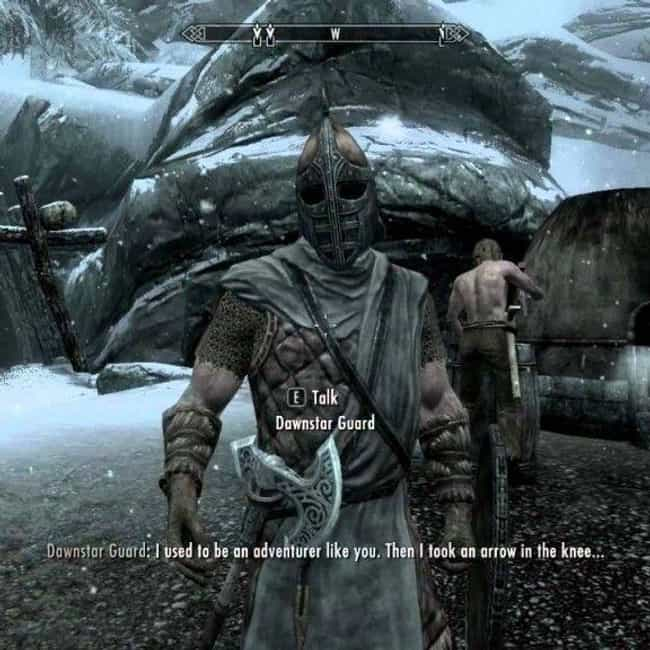 Arrow in the Knee is listed (or ranked) 1 on the list 15 Random 'Skyrim' Quotes That Are Way Funnier Than They Should Be