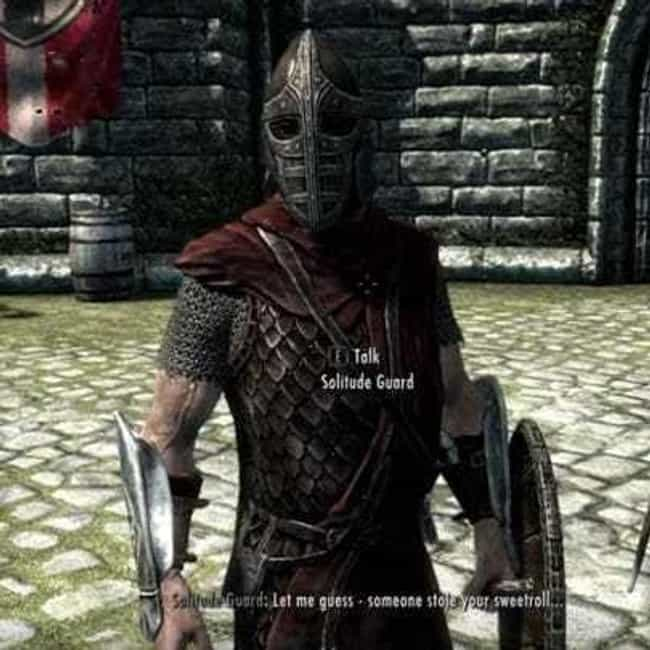 Sweetrolls? is listed (or ranked) 2 on the list 15 Random 'Skyrim' Quotes That Are Way Funnier Than They Should Be