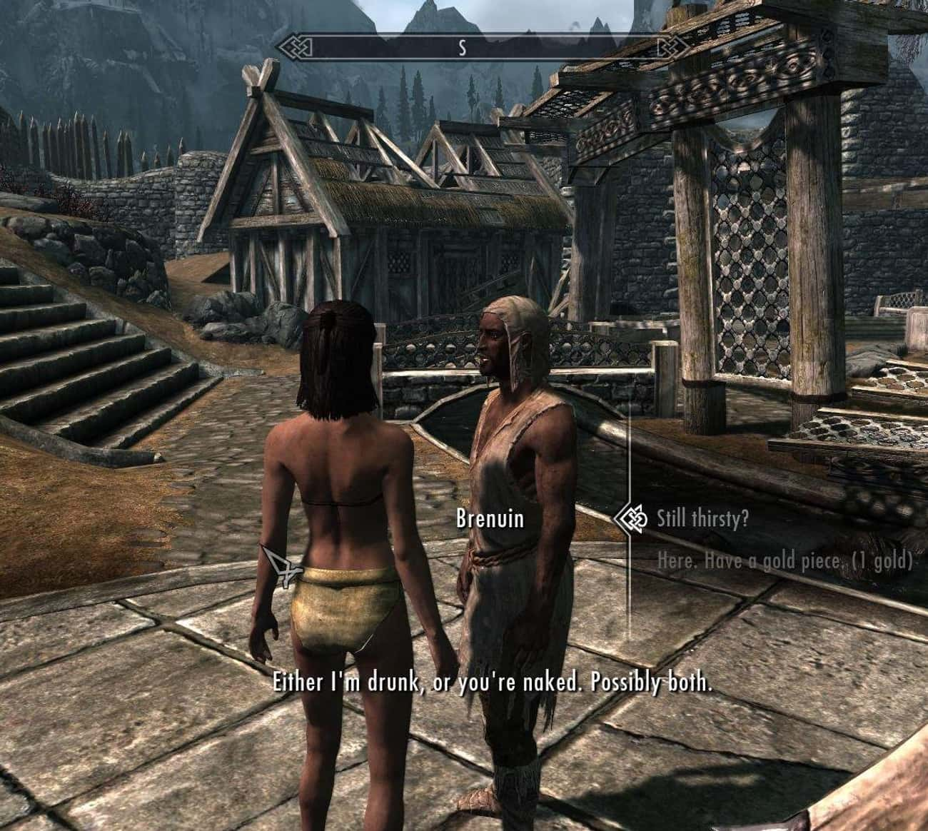 Possibly Both is listed (or ranked) 3 on the list 15 Random 'Skyrim' Quotes That Are Way Funnier Than They Should Be