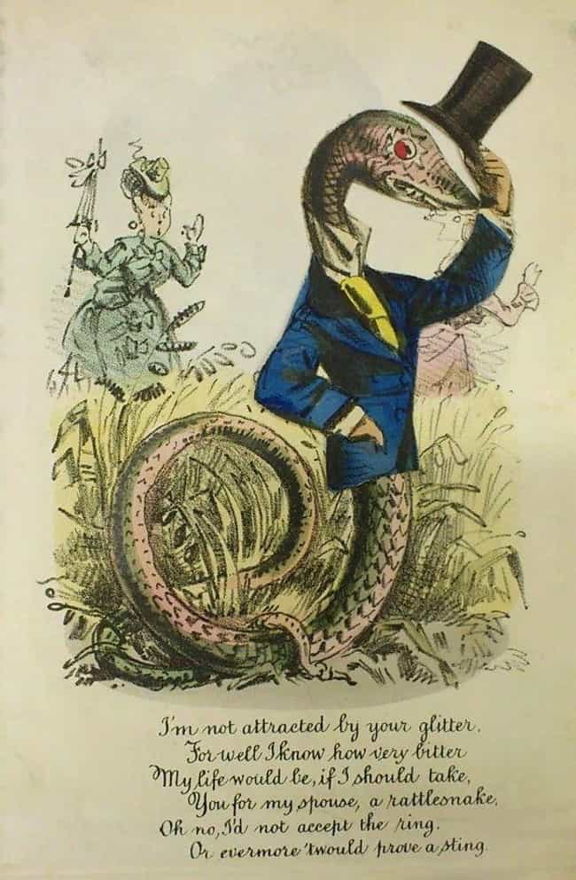 The Proposing Snake, 187... is listed (or ranked) 1 on the list People Used To Send Each Other Savage Valentine's Cards