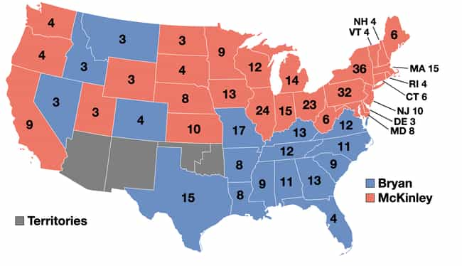 1900: William McKinley v... is listed (or ranked) 1 on the list These Maps Of Every Election In The Past Century Show How Dramatically America Has Changed