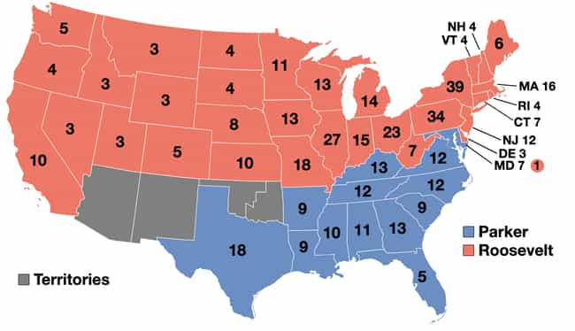 1904: Theodore Roosevelt... is listed (or ranked) 2 on the list These Maps Of Every Election In The Past Century Show How Dramatically America Has Changed