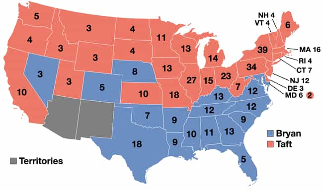 1908: William Howard Taf... is listed (or ranked) 3 on the list These Maps Of Every Election In The Past Century Show How Dramatically America Has Changed