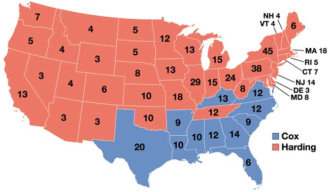 1920: Warren G. Harding vs. Ja is listed (or ranked) 6 on the list These Maps Of Every Election In The Past Century Show How Dramatically America Has Changed